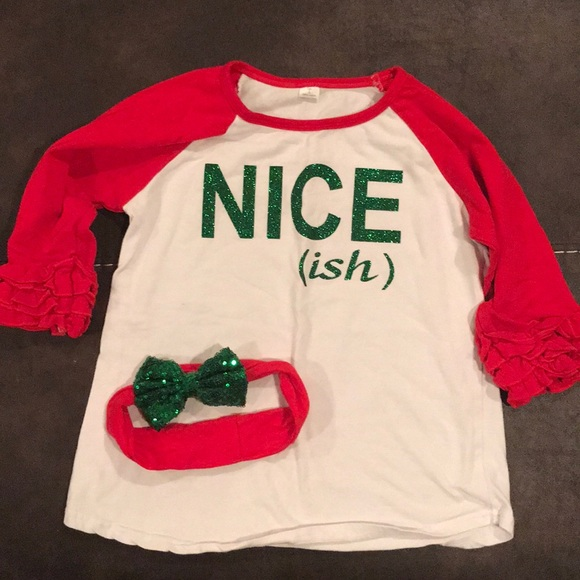 girls funny christmas shirt and bow - Girls Christmas Shirts